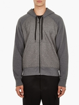 Ami Grey Cotton Fleece And Woven Wool Hoodie