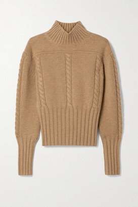 KHAITE Maude Cable-knit Cashmere Turtleneck Sweater - Sand