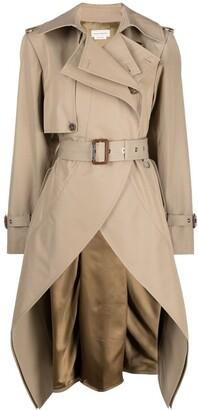 Alexander McQueen Asymmetric Belted Trench Coat