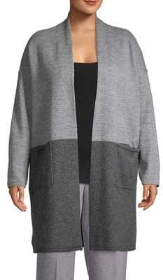 Lord & Taylor Plus Colorblock Open-Front Cardigan