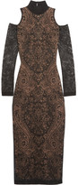 Balmain Cutout Lace Midi Dress - Black