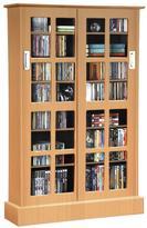 Atlantic Windowpane 576 CD or 192 DVD Blu-Ray or Games Maple Sliding Glass Door Media Cabinet