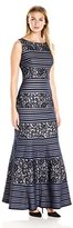 Sangria Women's Sequined Stripe Lace Evening Gown