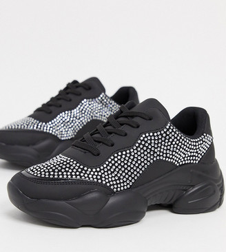 ASOS DESIGN Wide Fit Destined embellished chunky sneakers in black