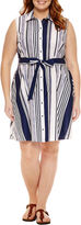 Liz Claiborne Sleeveless Shirt Dress-Plus
