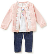 Jessica Simpson Baby Girls 12-24 Months Feather Print Tee, Quilted Jacket & Jegging Set