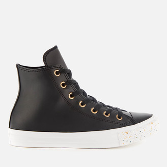 Converse Chuck Taylor All Star Speckled Hi-Top Trainers - Black/Gold/White