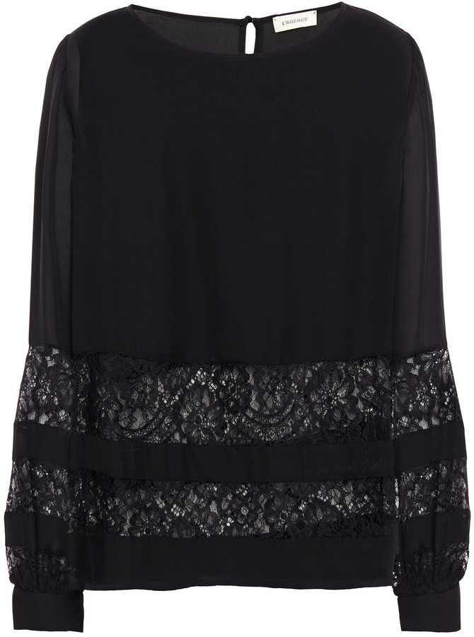 Thumbnail for your product : L'Agence Petra Chantilly Lace-paneled Silk Crepe De Chine Blouse