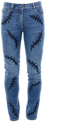 Moschino Embroidered Denim Jeans
