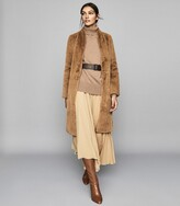 Reiss Halle - Long Line Faux Fur Coat in Almond