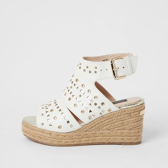 River Island White studded open toe wide fit wedge sandals