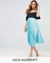 Asos Over The Bump Pleated Velvet Skirt