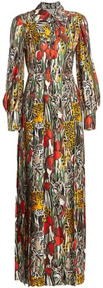 Gucci Feline's Garden Print Silk Maxi Dress