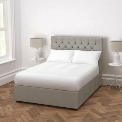 The White Company Richmond Bed Tweed - Headboard Height 130cm, Tweed Mid Grey, Super King