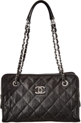Chanel Black Quilted Soft Caviar Leather Small Riviera Tote