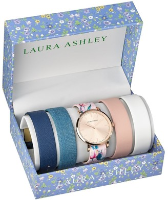 Laura Ashley Womens LASS1102RG Rose Gold Mirror Dial Case Floral Strap Watch Set Interchangeable Straps - N/A