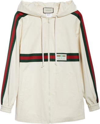Gucci Logo Label Cotton Hooded Jacket