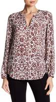 Adrianna Papell Split V-Neck Print Long Sleeve Blouse