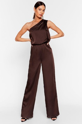 Nasty Gal Womens Sheen of the Night Satin One Shoulder Jumpsuit - Chocolate
