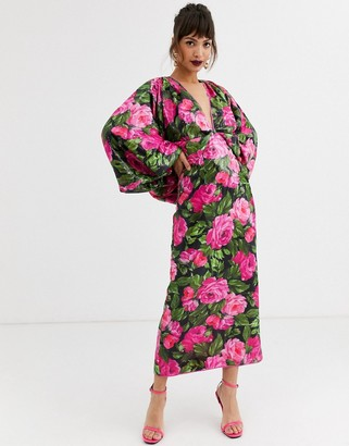 Asos Edition EDITION kimono sleeve dress in floral sequin