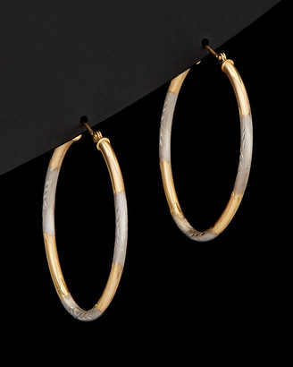 Italian Gold 14K Two-Tone Diamond Cut Oval Hoops