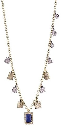 Meira T Blue Sapphire Charm & Diamond, Yellow Gold Necklace