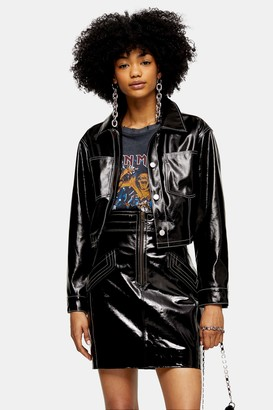 Topshop Womens Black Vinyl Crop Biker Jacket - Black