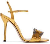 Gucci Dionysus Metallic Leather Sandals - Gold