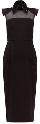 Fendi Pvc Layered Collar Mesh-panelled Wool Dress - Black