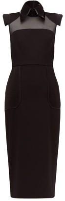 Fendi Pvc Layered Collar Mesh-panelled Wool Dress - Womens - Black