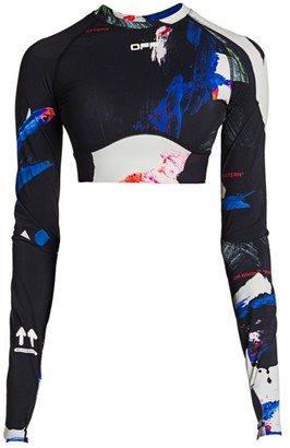 Off-White Off White Printed Long-Sleeve Crop Top