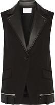 Alexander Wang Leather-trimmed cotton-blend vest