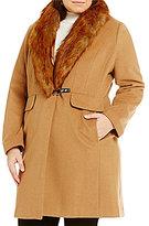 Ivanka Trump Plus Wool Coat With Detachable Faux-Fur Collar