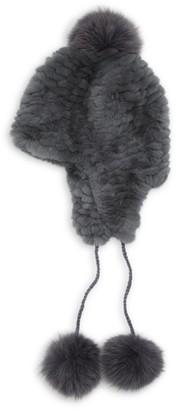 Pologeorgis Knit Rabbit & Fox Fur Pom-Pom Trapper Hat