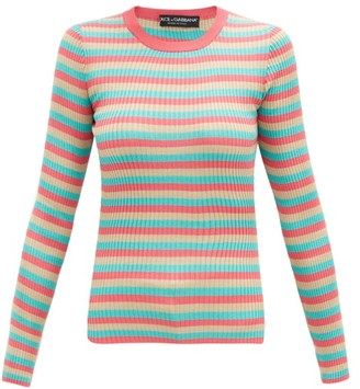 Dolce & Gabbana Striped Ribbed Silk-jersey Sweater - Multi
