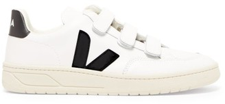 Veja V-lock Velcro-strap Leather Trainers - White Black