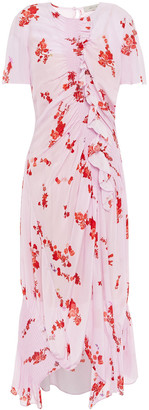 Preen Line Serelida Ruched Floral-print Crepe De Chine Midi Dress