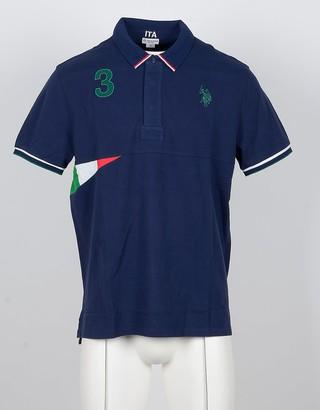 U.S. Polo Assn. Blue Cotton Men's Polo Shirt w/Italian Flag