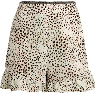 BCBGMAXAZRIA Leopard-Print Ruffle-Hem Shorts