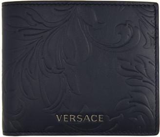 Versace Navy Embossed Barocco Bifold Wallet