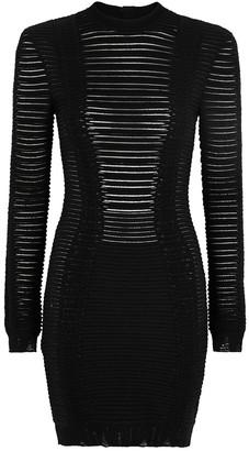 Balmain Black striped boucle-knit mini dress
