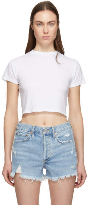 A Gold E Agolde White Cropped Baby T-Shirt