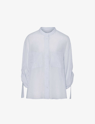 Reiss Giovanna relaxed-fit cotton and silk-blend shirt