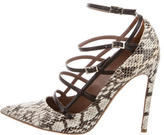 Tabitha Simmons Snakeskin Cage Pumps