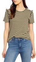 Lucky Brand Stripe Ruffle Cotton T-Shirt