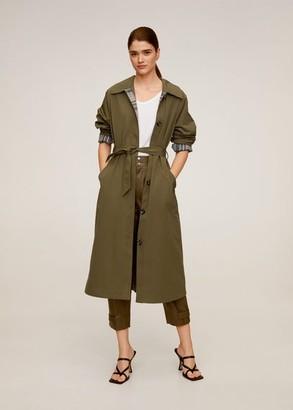 MANGO Buttoned long trench khaki - S - Women