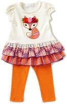Bonnie Jean Bonnie Baby Baby Girls 12-24 Months Fox-Appliqued Dress & Dotted Leggings Set