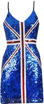 Blingstory Sexy Strap British Flag Sequin Dress Clubwear (One Size, )