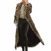 Thumbnail for your product : HOOUDO Women Hot Leopard Print Cardigan Outwear Sexy Autumn Winter Warm Long Thick Cotton Parka Slim Jacket Coat Long Lapel Overcoat (Small