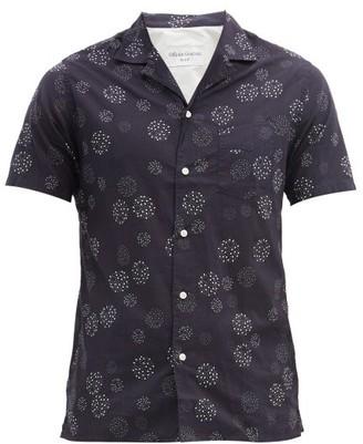 Officine Generale Dario Short-sleeved Dot-print Cotton Shirt - Navy Multi